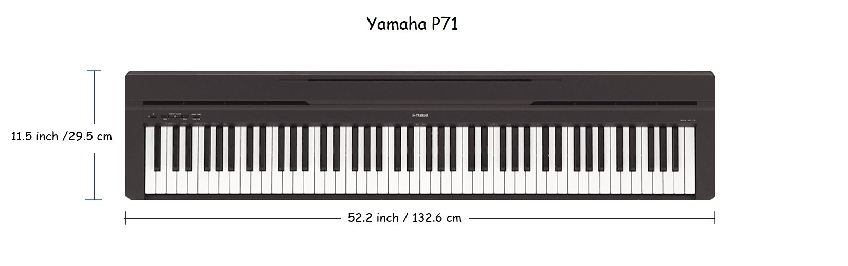 dimension Yamaha digital piano